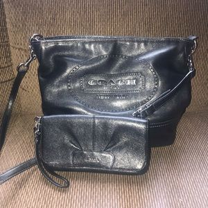 Black Engraved Coach Purse w/ Matching Wallet